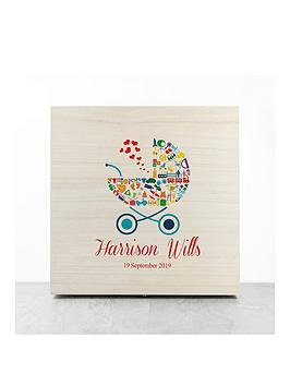 Very Personalised Pram Baby Boy Memory Box Picture