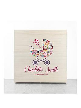 Very Personalised Pram Baby Girl Memory Box Picture