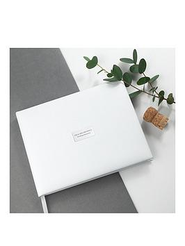 Very Personalised White Leather Wedding Guest Book Picture