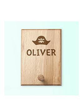 Very Personalised Pirate Hat Peg Hook Picture