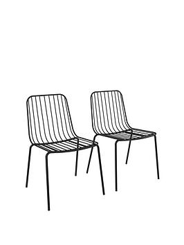 Very Pair Of Caden Metal Wire Dining Chairs Picture