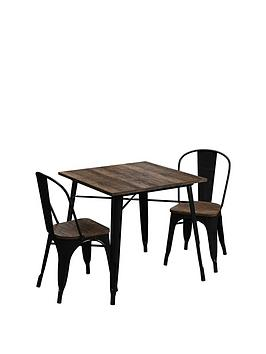 Very Fusion 80 Cm Square Dining Table + 2 Chairs Picture