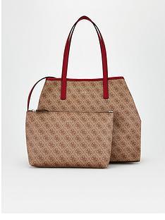 guess-vikky-four-g-print-tote-bag-brown
