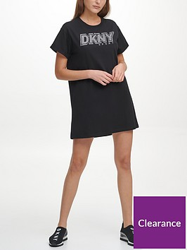 dkny-sport-rhinestone-logo-t-shirt-dress-black