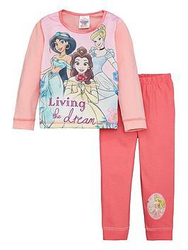 disney-princess-girlsnbspprincess-belle-jasmine-and-cinderella-raglan-long-sleeve-pjs-pink