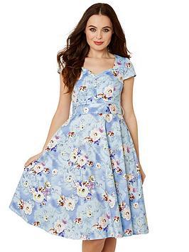 Joe Browns Joe Browns Stunning Vintage Print Dress - Light Blue Picture