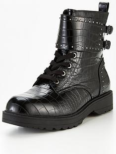 guess-wanda-buckle-embossed-croc-biker-boots-black