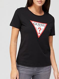 guess-tatiana-triangle-logo-t-shirt-black