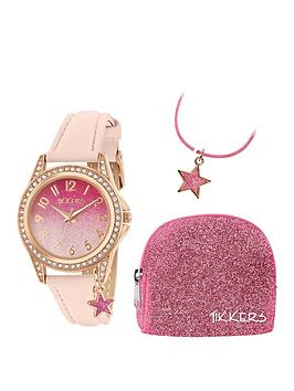 tikkers-tikkers-pink-glitter-dial-pink-leather-strap-watch-with-purse-and-necklace-kids-gift-set