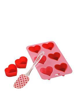 Premier Housewares Premier Housewares 8 Piece Silicone Heart Baking Set Picture