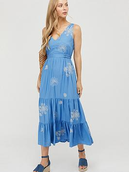 Monsoon Monsoon Cersei Ecovero Embroidered Dress - Blue Picture