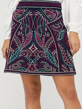 Monsoon  Emmy Organic Cotton Embroidered Skirt - Navy