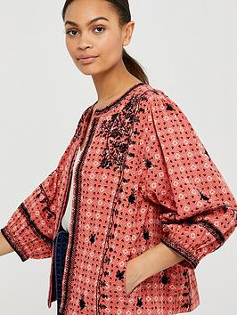 Monsoon Monsoon Lilla Embroidered Organic Cotton Jacket - Coral Picture