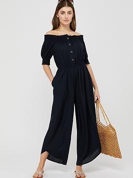 Monsoon Monsoon Shona Shirred Ecovero Jumpsuit - Navy Picture
