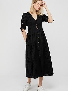 Monsoon Dolly Schiffli Midi Dress - Black