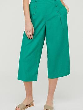 Monsoon Monsoon Eureka Linen Blend Crop Trouser - Green Picture