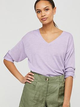 Monsoon Monsoon Tilly Tab Sleeve Linen Blend Jumper - Lilac Picture
