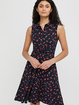 Monsoon Monsoon Betsy Rose Print Shirt Jersey Dress - Navy Picture