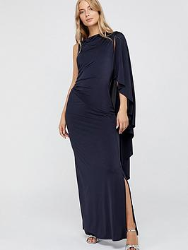 Monsoon Monsoon Ophelia One Shoulder Cape Jersey Maxi Dress - Navy Picture