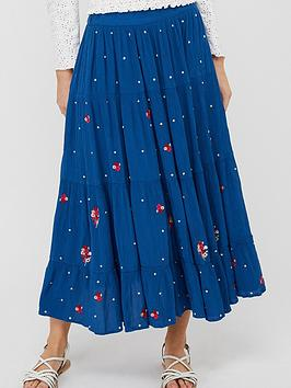 Monsoon Monsoon Clara Embroidered Ecovero Skirt - Blue Picture