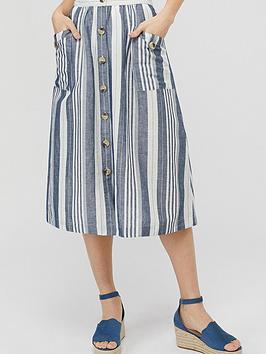 Monsoon Monsoon Tonya Stripe Organic Cotton Linen Skirt - Blue Picture