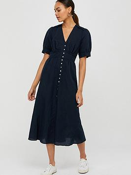 monsoon-dori-organic-cotton-linen-dress-navy