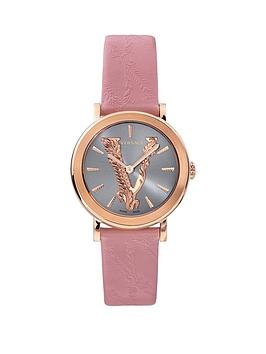 Versace Versace Virtus Light Blue And Rose Gold Dial Pink Leather Strap  ... Picture