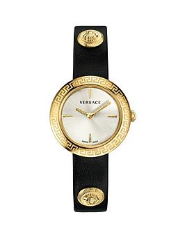 Versace Versace Versace Silver Sunray And Gold Detail Dial Grey Leather  ... Picture