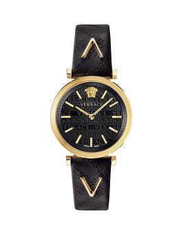 Versace Versace V-Twist Black And Gold Detail Dial Black Leather Strap  ... Picture