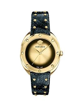 Versace Versace Shadov Gold Dial Black Studded Leather Strap Ladies Watch Picture