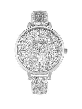 Missguided Missguided Missguided Silver Glitter Dial Silver Leather Strap  ... Picture