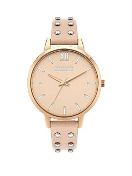 Missguided Missguided Missguided Blush Dial Blush Studded Leather Strap  ... Picture