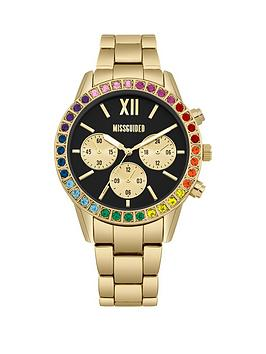 Missguided Missguided Missguided Black And Rainbow Crystal Chronograph  ... Picture