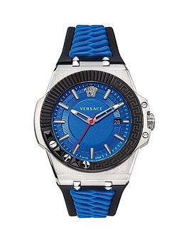 Versace Versace Chain Reaction Blue Date Dial Blue And Black Silicone  ... Picture
