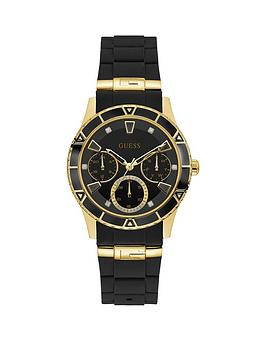 Guess Guess Guess Valencia Black And Gold Detail Multi Dial Black Silicone  ... Picture