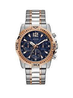guess-guess-commander-blue-and-rose-gold-detail-chronograph-dial-two-tone-stainless-steel-bracelet-mens-watch