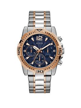 Guess Guess Guess Commander Blue And Rose Gold Detail Chronograph Dial Two  ... Picture
