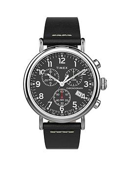 Timex Timex Timex Black And Silver Detail Chronograph Dial Black Leather  ... Picture