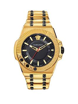 Versace Versace Chain Reaction Black And Gold Ip Date Dial Two Tone  ... Picture