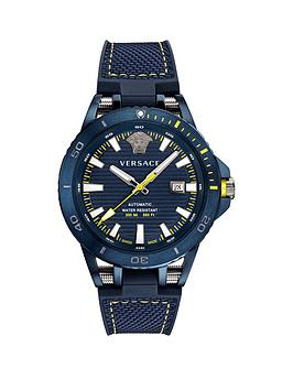 Versace Versace Sport Tech Blue Date Dial Blue Leather Strap Mens Divers  ... Picture