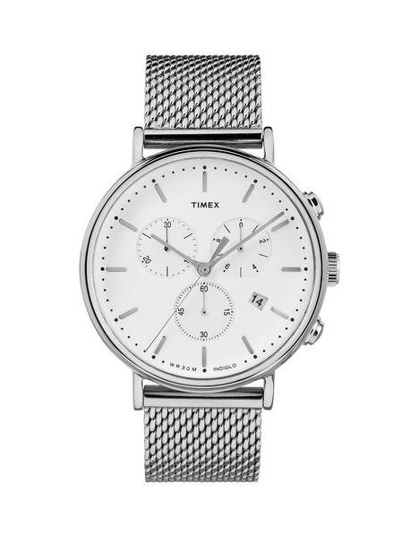 timex-timex-fairfield-white-chronograph-dial-stainless-steel-mesh-strap-watch