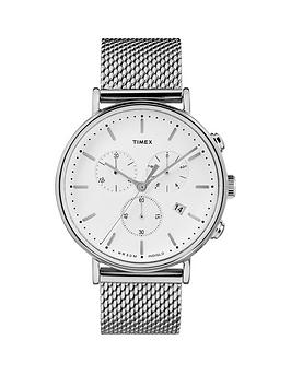 Timex Timex Timex Fairfield White Chronograph Dial Stainless Steel Mesh  ... Picture