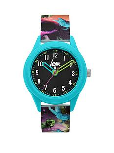 hype-hype-black-and-turquoise-dial-galaxy-print-silicone-strap-kids-watch