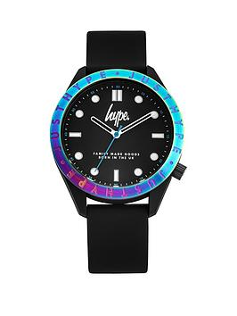 Hype Hype Hype Black And Irridescent Bezel Dial Black Silicone Strap Kids  ... Picture