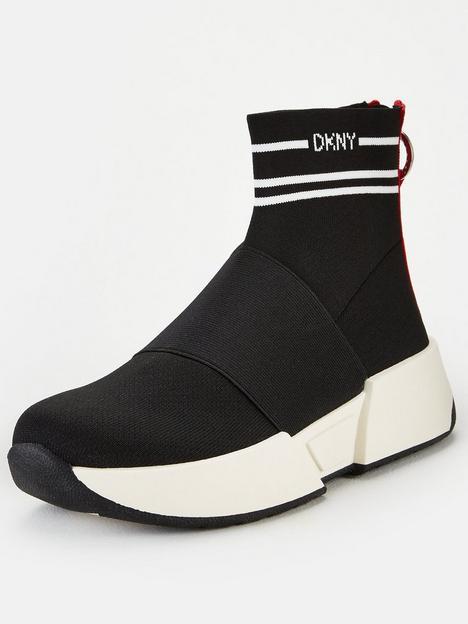 dkny-marini-logo-knit-sock-trainers-black