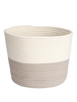 cotton-weaved-two-tone-storage-basket-ndash-taupewhite