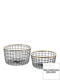 set-of-2-round-wire-storage-baskets-with-rattan-rims