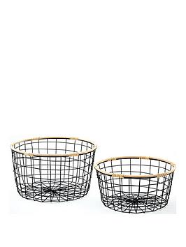 set-of-2-round-wire-storage-baskets-with-rattan-rims