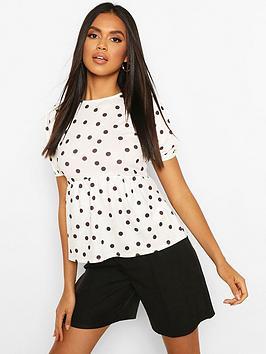 Boohoo Boohoo Polka Dot Peplum Top - White/Black Picture