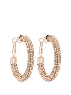 mood-rose-gold-plated-peach-pave-tube-hoop-earrings